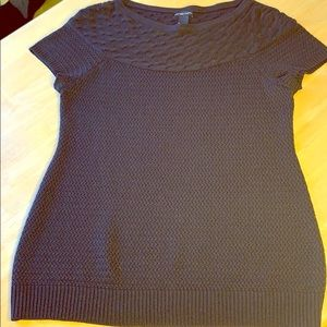New York & Company Cable Knit Short Sleeve Blouse